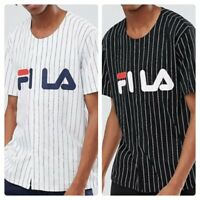 Men`s New FILA Baseball Shirt Size S-M-L-XL Black & White - RRP £40