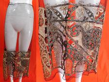 Vintage Art Deco Black Net Silver Lame Embroidered Lace Skirt Fabric Dress Trim