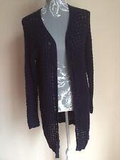 George Women Open Cardigan Size 14 Navy Blue Long Sleeved Cotton Crochet