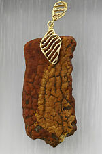 ANTIQUE Vintage Genuine BALTIC AMBER Silver Gold Plated Pendant 11.3g p160420-2