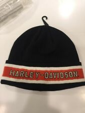Harley-Davidson Men's Striped Knit Beanie Hat, Black 99409-13VN. NEW.