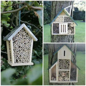 Wooden Insect Bee House Natural Wood Habitat Bug Hotel Shelter Garden Nest Box