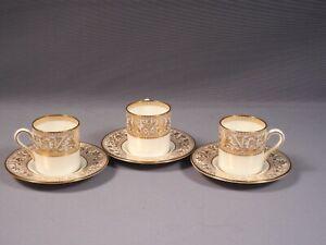 Wedgwood FLORENTINE GOLD Demitasse Coffee Espresso Cup Saucer  England W4219