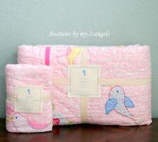 NEW RARE Pottery Barn Kids Zoey Bird Twin Quilt + Standard Sham Set PINK/GIRLS