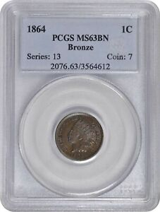 1864 Indian Cent Bronze PCGS MS63BN