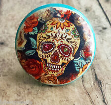"4 Handmade Sugar Skull and Flower Knob Drawer Pulls, 1.5"" Day of the Dead Knobs"