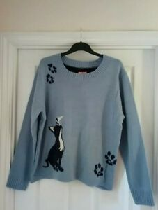 BNWT Joe Browns Ladies Fabulous Blue Cat Jumper. Size 18