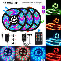 5/10/15M 3528 SMD RGB SMD LED Strip Light String Tape Music Sync IR Remote Kit