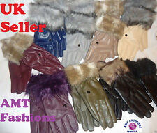 Wrist Faux Leather Winter Gloves & Mittens for Women