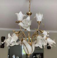MURANO Palm Beach Italian Art Glass Nouveau Calla Lily Bouquet Brass Chandelier