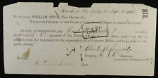 Military Payment Voucher May/17/1862 Colonel William Fitch CT Volunteer Militia