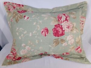 One (1) Mainstays Home Green Floral STANDARD PILLOW SHAM Farmhouse Shabby Chic