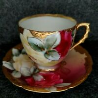 VINTAGE NIPPON TEACUP AND SAUCER YELLOW & PINK CABBAGE ROSE GOLD BEADING