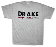 "D.R.A.K.E. - ""DO RIGHT AND KILL EVERYTHING"" HEATHER GREY T-SHIRT - NEW MEDIUM"