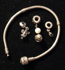 PANDORA STERLING SILVER CHARM BRACELET WITH 4 CHARMS AUTHENTIC