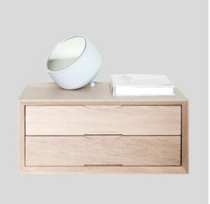 Urbansize Double Drawer Oak Floating Bedside Tables X 2 Brand New Boxed