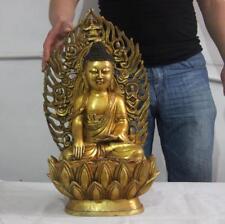 Tibet Temple Bronze Copper Gild Seat Shakyamuni Amitabha Buddha Sakyamuni Statue