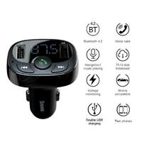Dual USB 3.4A Car Charger Phone Fast Charge 2 Port Bluetooth Handsfree Digital