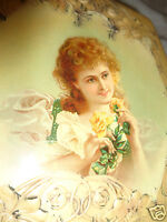 ANTIQUE VICTORIAN CELLULOID LADY PORTRAIT YELLOW FLORAL ROSE SHAVING DRESSER BOX