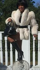 Mint Designer white cream Fox & Mink Fur Coat Jacket, Bolero, Stroller S-M 2-10