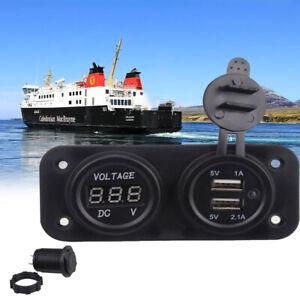 12V Car Cigarette Lighter Socket Adapter Voltmeter Switch Panel +2 USB Charger