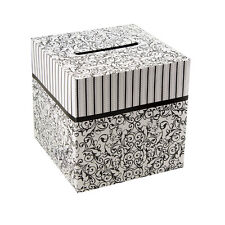 "Black & White pattern Wedding Wishing Notes Cards Money Gift Box 10"" x 10"