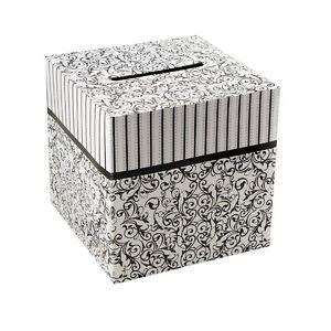 "Black & White pattern Wedding Wishing Notes Cards Money Gift Box 10"" x 10"
