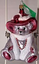 Nib New Goebel Hermann 2003 Red Rose Bear Glass Decorative Ornament