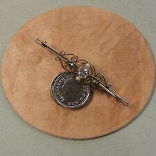 9 ct GOLD Second hand antique aquamarine & pearl brooch