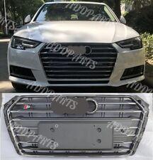 For Audi A4 S4 2017-2018 B9 Grille Gray or Black horizontal stripes +emblem