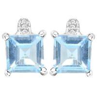 Ohrringe/Ohrstecker Leonora, 925er Silber, 4,01 Kt. echter Blautopas/Diamant