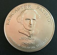 Adam Hurley Continental Currency Signer Red Rose Coin Club Lancaster PA  Medal