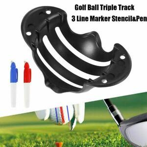Golf Ball Triple Track 3 Line Marker Stencil ERC Chrome Soft Odyssey+ 2 Pens hot