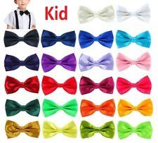 Kid Boy Children Pre Tied Plain Satin bow tie Wedding Party Fancy Dress UK