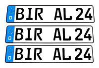 3 x KFZ PKW EU Kennzeichen Fahrradträger Autokennzeichen Nummernschild