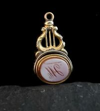 Antique 9ct gold seal fob, spinning fob, lyre