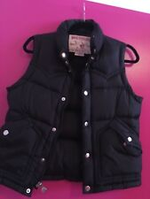 true religion women black puffer down vest size small pre-owned.