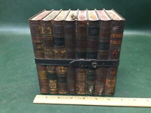 Vintage Antique Decorative Tin Faux Books with Strap Storage Box