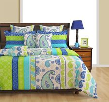 Swayam Blue and Off White Colour Ethnic Print Single Bed Sheet