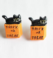Trick or Treat Black Cat Button Stud Earrings Handmade