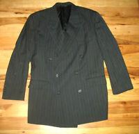 Burberrys Black Striped Wool Six Button Sports Coat Blazer Jacket Mens 45 R