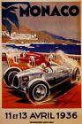 1936 Monaco Grand Prix Automobile Curve Car Racing Vintage Poster Repro FREE S/H