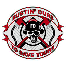 Bustin' Ours To Save Yours Reflective Skull Firefighter Window Decal Sticker