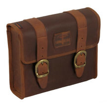 LONG TRAJET Mini sacoche de selle de waxcotton marron, POUR HARLEY-DAVIDSON