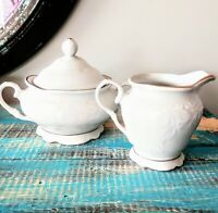 "Vintage Gibson Housewares China Cream & Sugar Bowl White Gold Trim 4.5"" EUC"
