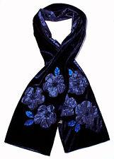 echarpe fantaisie femme velours bleu fleurs satin