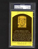 Earle Combs Autographed Signed Baseball Hall Of Fame Plaque Card  PSA/DNA