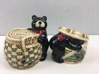 Vtg Bear Salt Pepper Shaker Set of 2 Ceramic Figural