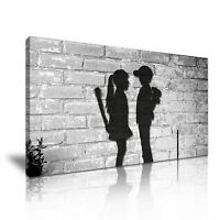Banksy Boy and Girl Love  Modern Wall Art Canvas Print Framed ~ Many Size