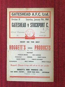 Gateshead Last Football League Season v Stockport, 9/1/1960 Programme